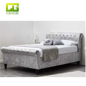 Astounding Silver Crushed Velvet Ottoman Sleigh Bed Frame Double King Size Fabric Bed Buy Silver Crushed Velvet Ottoman Sleigh Bed Frame Double King Uwap Interior Chair Design Uwaporg