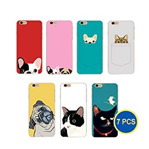 Gadget.Cool Wholesale Pack of 7 Ultra Slim Animal Cat Dog Picture Cases for iPhone 6 iPhone 6S (7 Dogs & Cats)
