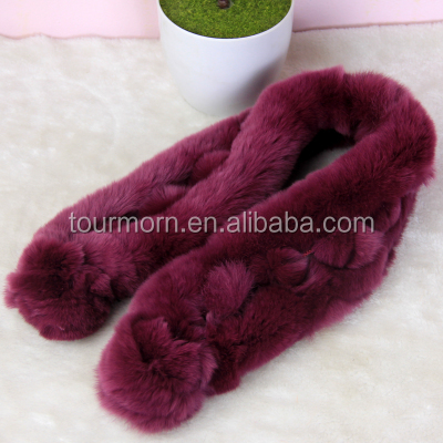 Women Fashion Cold Weather Luxurious Rex Rabbit Fur Collar Wrap Scarf