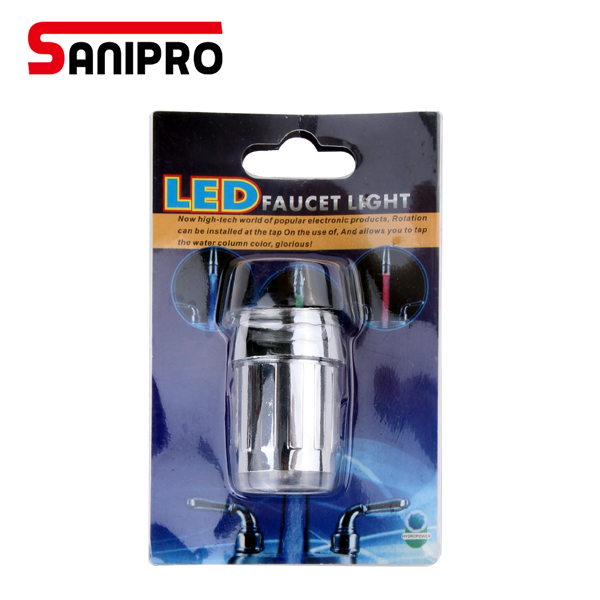 SANIPRO Temperature control 3 Color Water Power shower faucet light water saving faucet aerator change Led faucet light