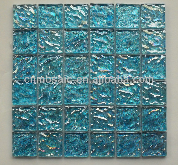 2x2 inch blue wave glazed glass wave mosaic tile