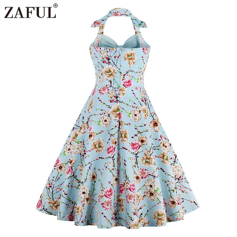 19e667daa3baf Wholesale- ZAFUL New Women Vintage Dress Plus Size Floral Print Pin ...