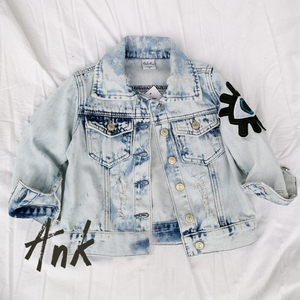 c74025ff0e8594 High Quality Little Girl Denim Jeans Ripped Jacket For Kid