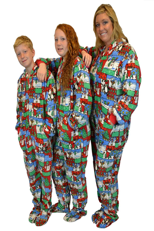 2394e097cc Christmas Fun Plush Hoodie Footed Onesie Pajamas with Drop Seat