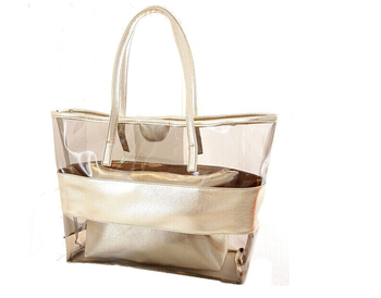 fabc2dcf04e9 Waterproof Semi-clear Tote Bags Stripe Pvc Beach Shoulder Bag With Small  Cosmetic Bag Pvc Large Work Tote Purse Clear Handbags - Buy Waterproof ...