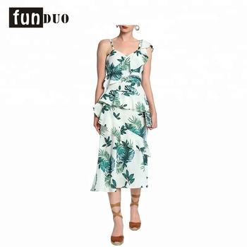 cf5ec7d8e 2018 Mulheres com decote em v Impresso Padrão One Piece Vestido sexy ladies  Ruffles vestido Longo