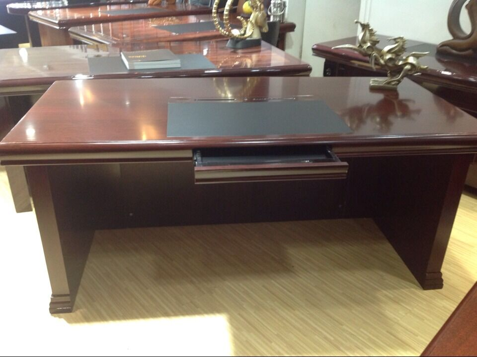Round Edge Mdf Paper 16m Office Desk Boss Table Wooden Office