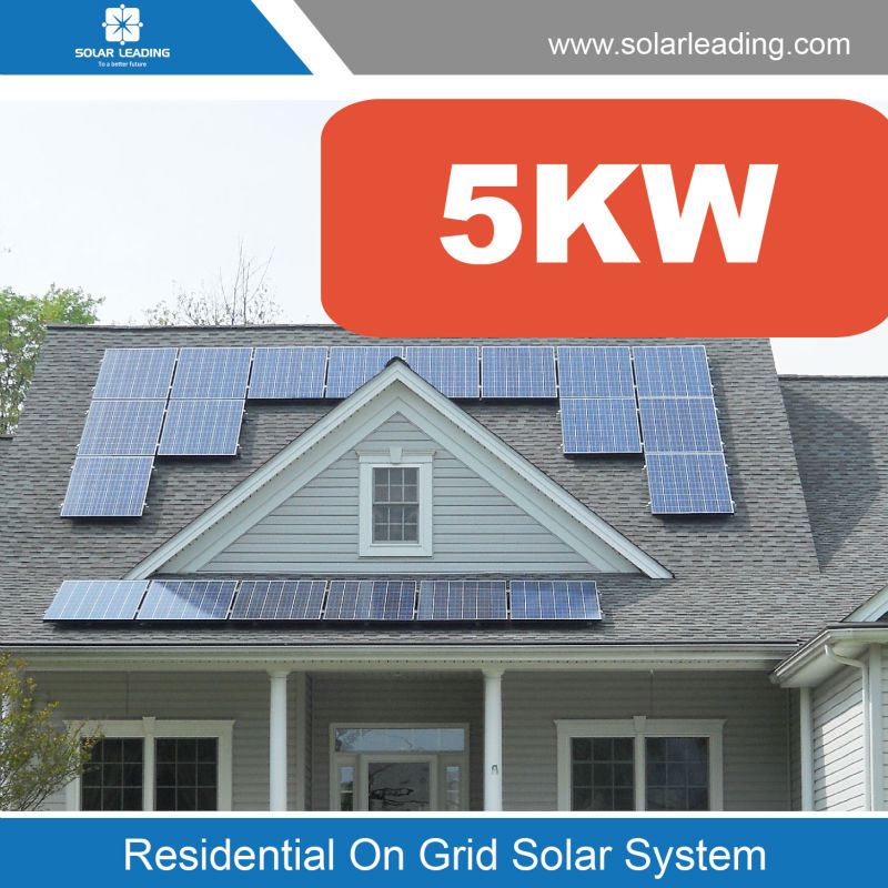Easy installation 5kw solar electricity generating system include solar cell panel also with on grid inverter