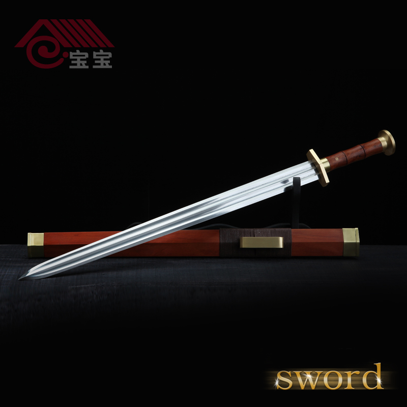 LQS15hj070005 vintage home decor riffled iron sword Siam rosewood sword