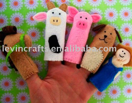soft felt animal dog horse finger kids puppet for children
