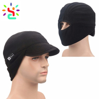 Mens winter cap fleece beanie hat earflap hat with visor beanie windproof outdoor cap tech fleece mask balaclava