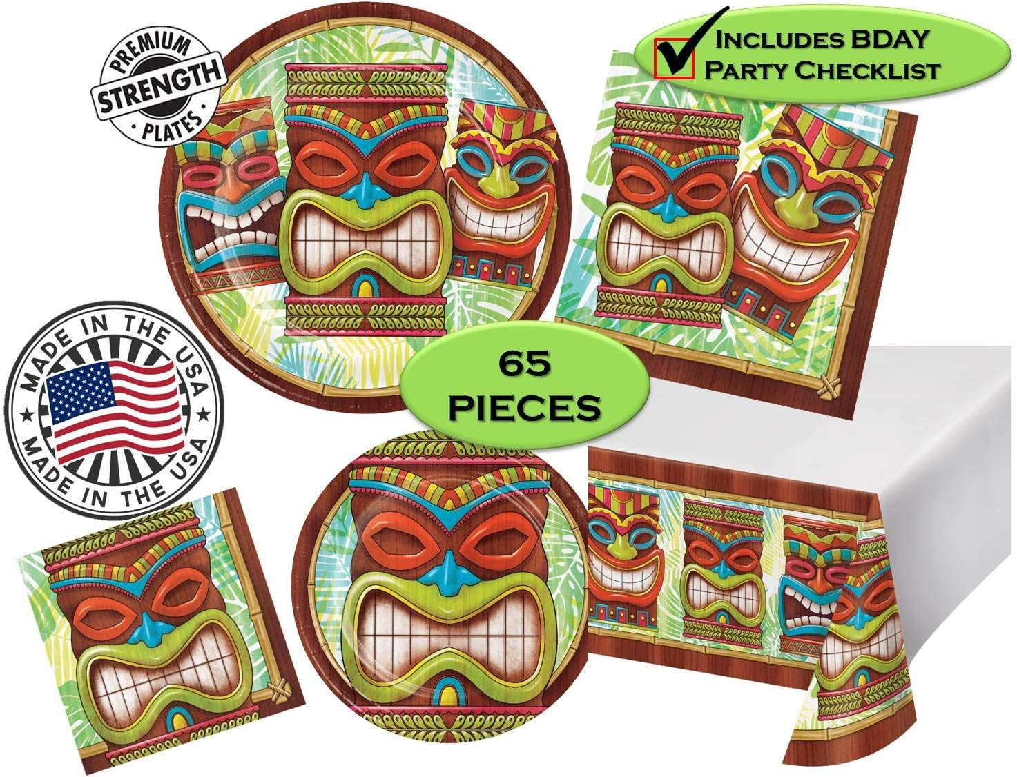 Tiki Time Luau Aloha Hawaii Party Pack - Dinner & Dessert Plates, Dinner & Beverage Napkins, Tableware - 65 Pieces - 16 Guests - Made in The USA