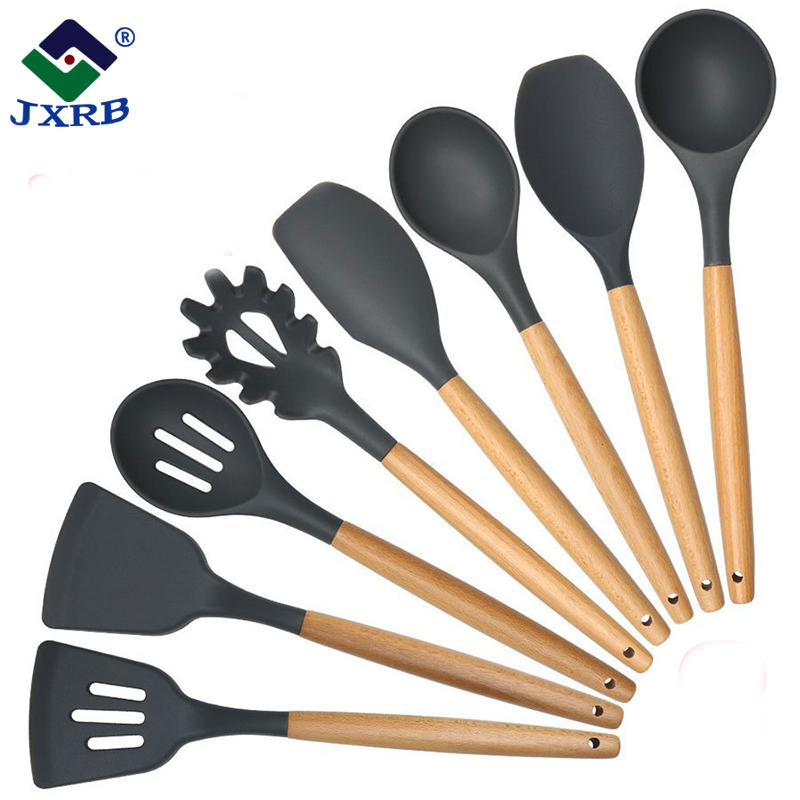 Hot sale food grade cookware utensils kitchen wooden handle travel cooking <strong>set</strong>