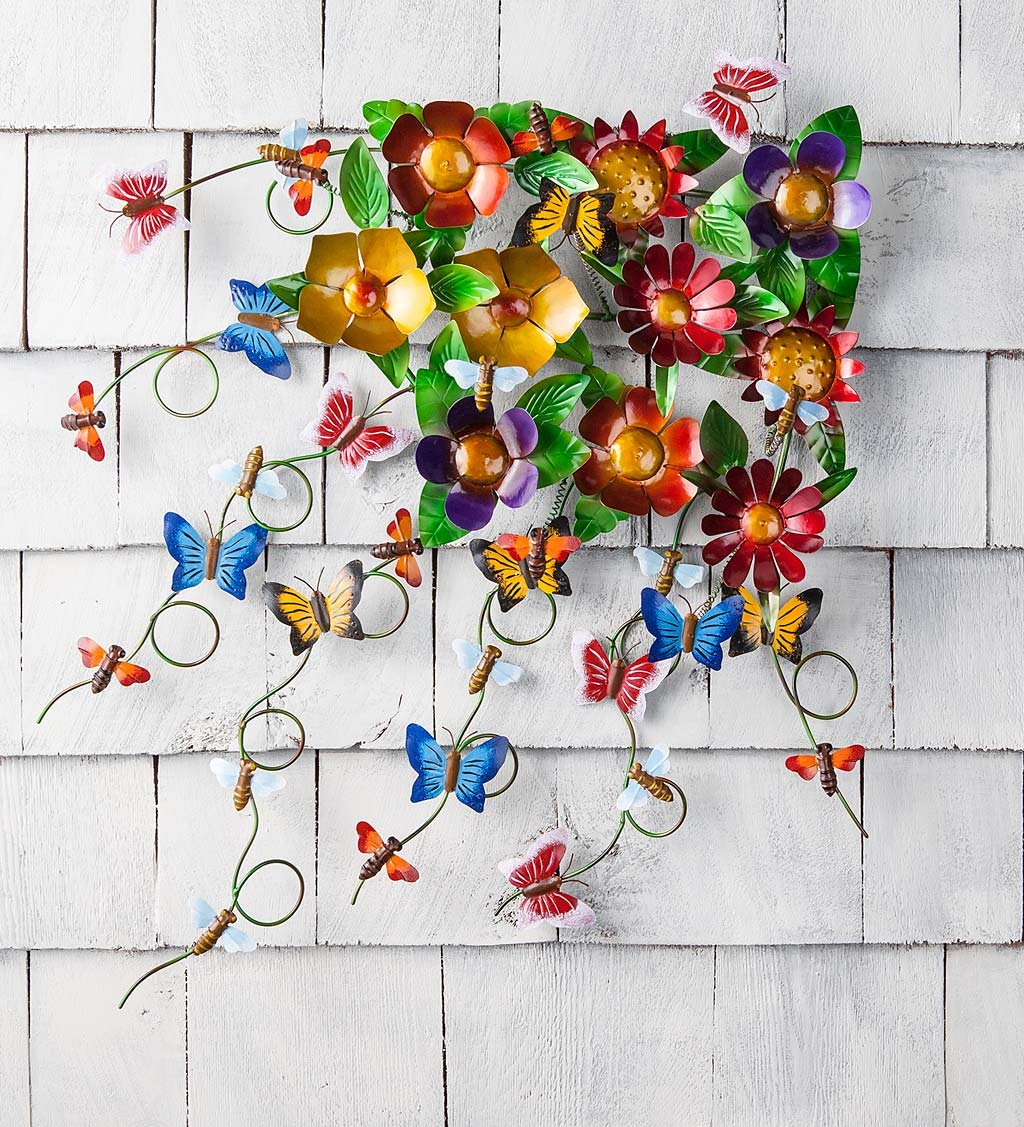 5c7ecc947a1 Get Quotations · Garden Spray Metal Wall Art with Flowers and Butterflies  25.75 W x 4 D x 31