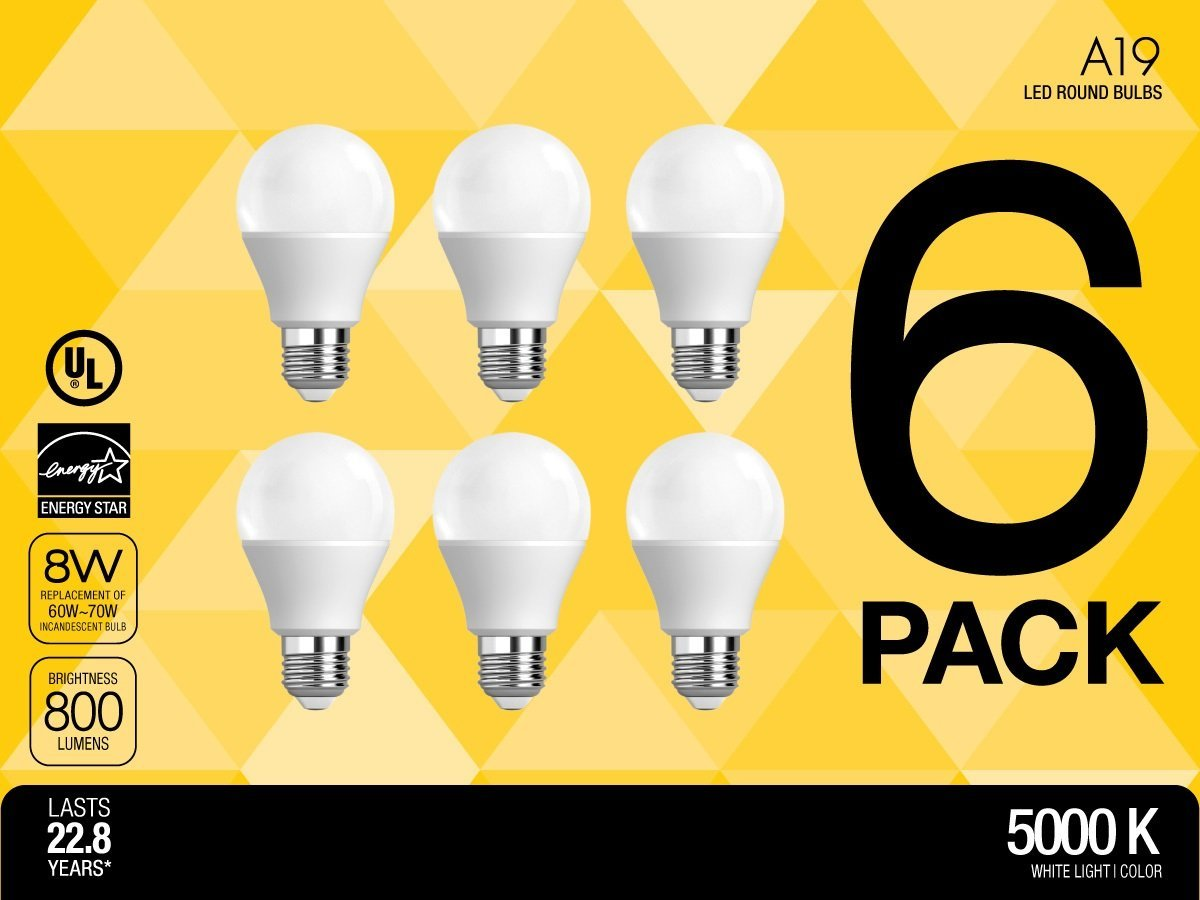 SELS LED A19 60-Watt Equivalent LED Light Bulb, E26 Standard Base, Daylight (6 Pack )