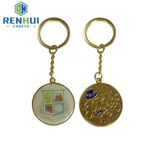 Cheap custom metal material fashion promotion gold plated enamel souvenir keychain