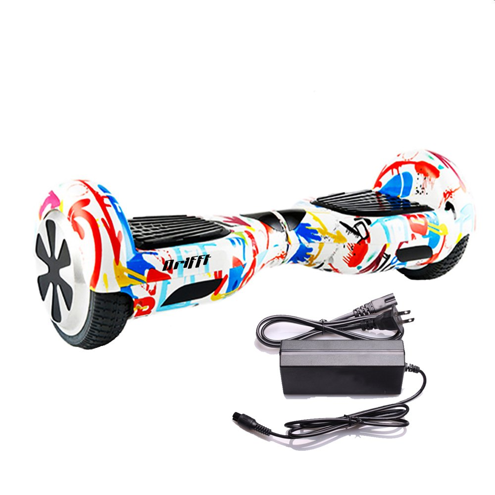 """White Graffiti 6.5"""" UL 2272 Certified Hoverboard - Electric Self-Balancing Scooter"""