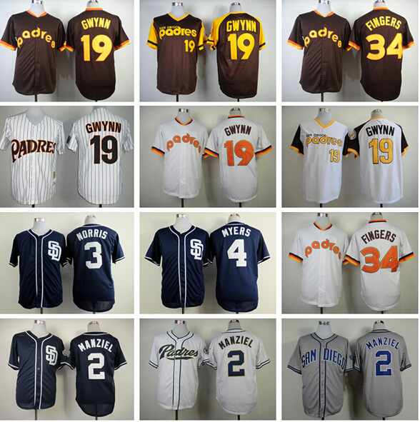San Diego Padres Baseball 2 Johnny Manziel Jerseys 34 Rollie Fingers 4 Wil Myers 3 Derek Norris 19 Tony Gwynn Throwback Jersey