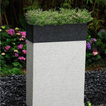 Outdoor White Large Chinese Granite Stone Flower Pots Garden Planter For  Sale
