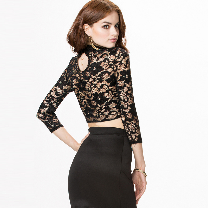 8d5ecaeb97df9 Get Quotations · 2015 Sexy lace embroidery back a grain of button pierced  perspective dew navel lace T-