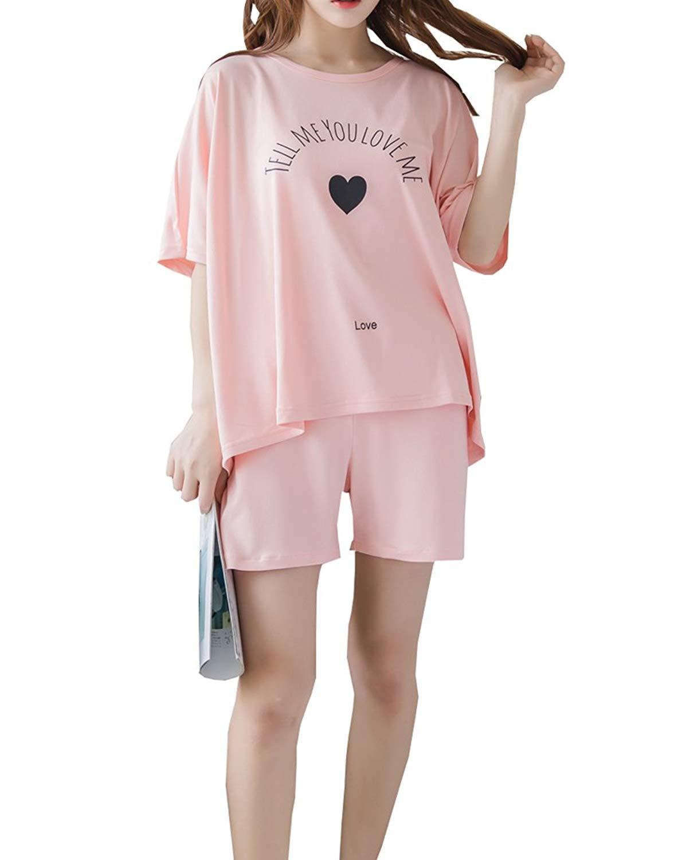 29d6b330db3 Get Quotations · MyFav Young Girls Short Pajamas Heart Shape Sleepwear  Summer Nighty Nightwear