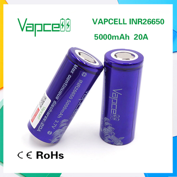 good quality Vapcell 26650 5000mah 20A good supervision of production for e-cig 26650 battery