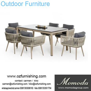 modern Outdoor Furniture Garden Dining Table Set Dining Table rope Chair  Set, View outdoor dining table chair set, momoda Product Details from  Foshan ...