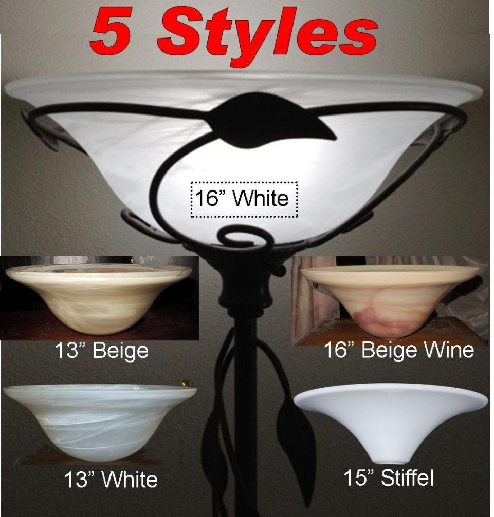 Get quotations · 5 styles 13 16 wide torchiere glass floor lamp shades alabaster frost