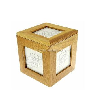 Custom Logo Oak Wooden Cube Photo Box Picture Frame Box Buy