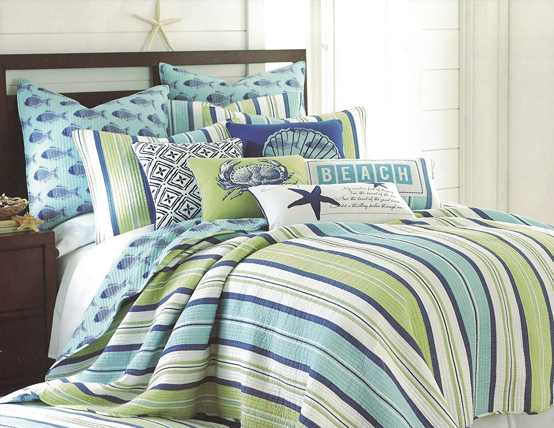 Hampton Coastal Striped (King 4-pc Quilt Set)