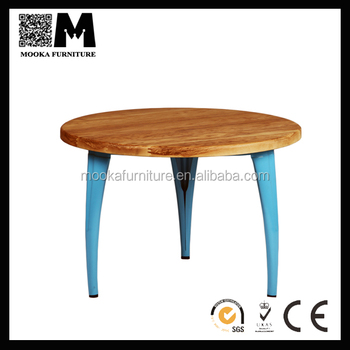 General Use Morden Design Metal Frame Round Wood Top Coffee Tables