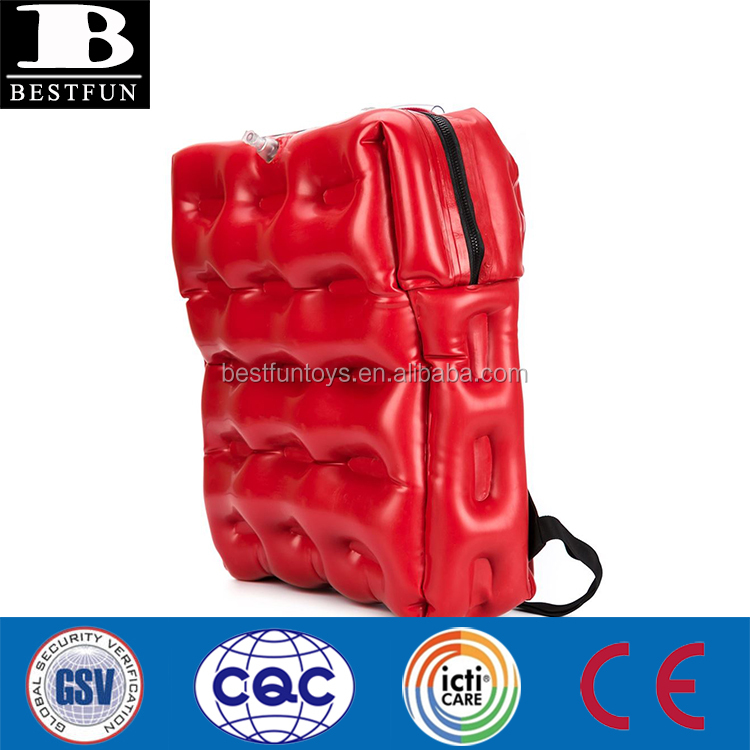 high qulity plastic inflatable backpack bag durable PVC inflatable fashion bag clothes and shoes inflatable decorations bag
