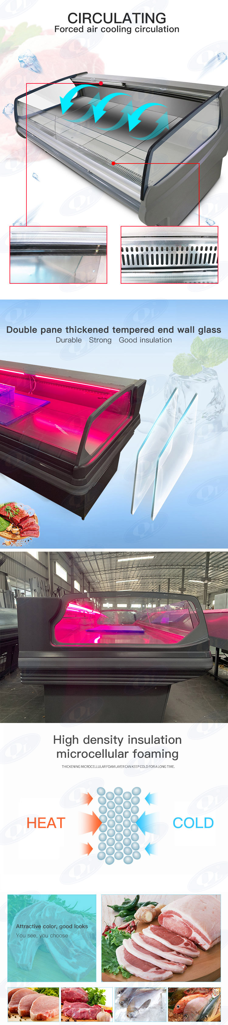 Energy saving meat refrigeration commercial display fridges