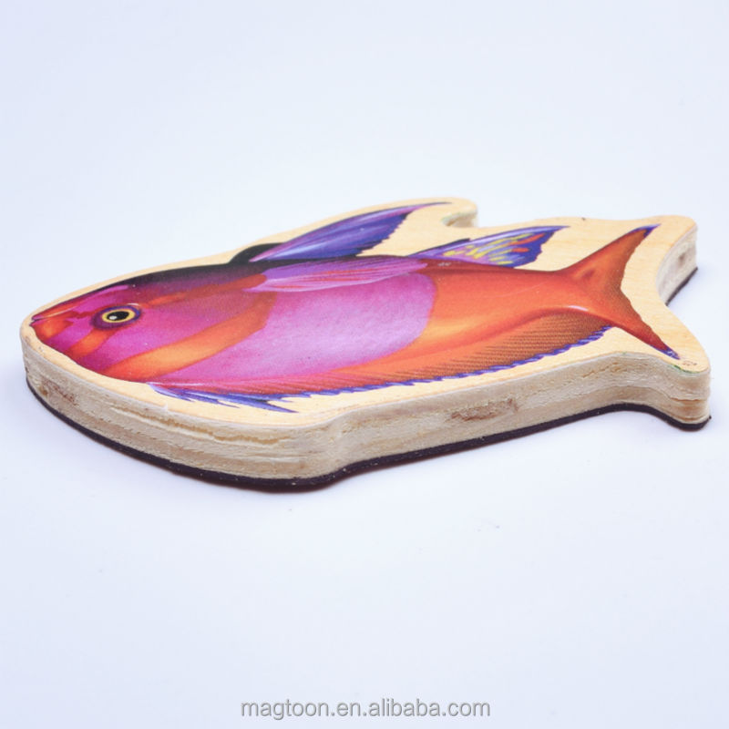 2016 popular fish design 3d wood magnets fridge &fridge magnets for kids