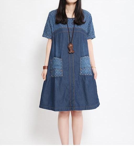e2998adf2d4 Get Quotations · Pregnant women crotch cutout denim dress long loose  shortsleeve print one-piece dress maternity plus