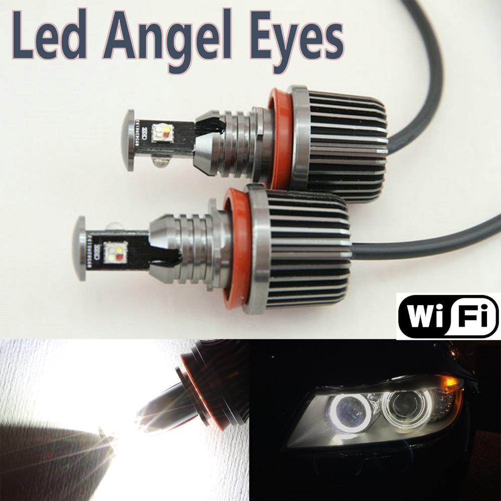 Wifi RGB Led Angel Eyes H8 12w color changing led bulbs for B MW 1/3/5/6/7/X/Z series