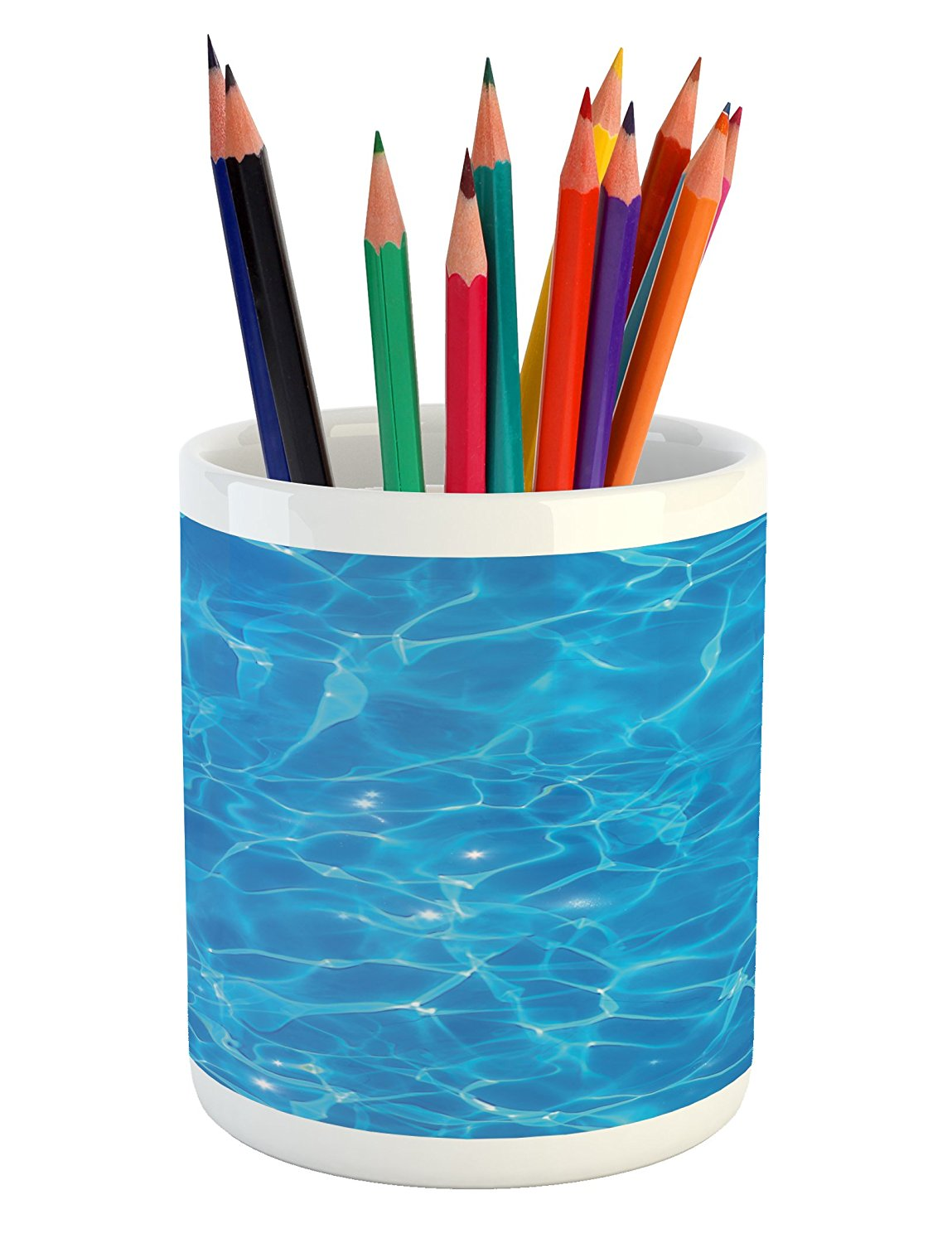 Lunarable Pale Blue Pencil Pen Holder, Aquatic Picture Pool Surface Clear Water Reflection Vibrant Summer Theme, Printed Ceramic Pencil Pen Holder for Desk Office Accessory, Blue Pale Blue