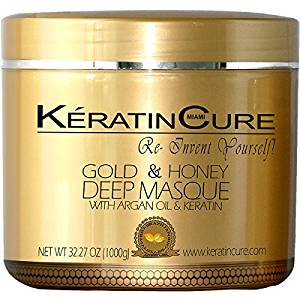 KERATIN CURE - Deep Hair Reparation Masque 1000 g / 32 Oz Gold & Honey with Argan Oil - Shea Butter Conditioning Moisturizing Hair Treatment