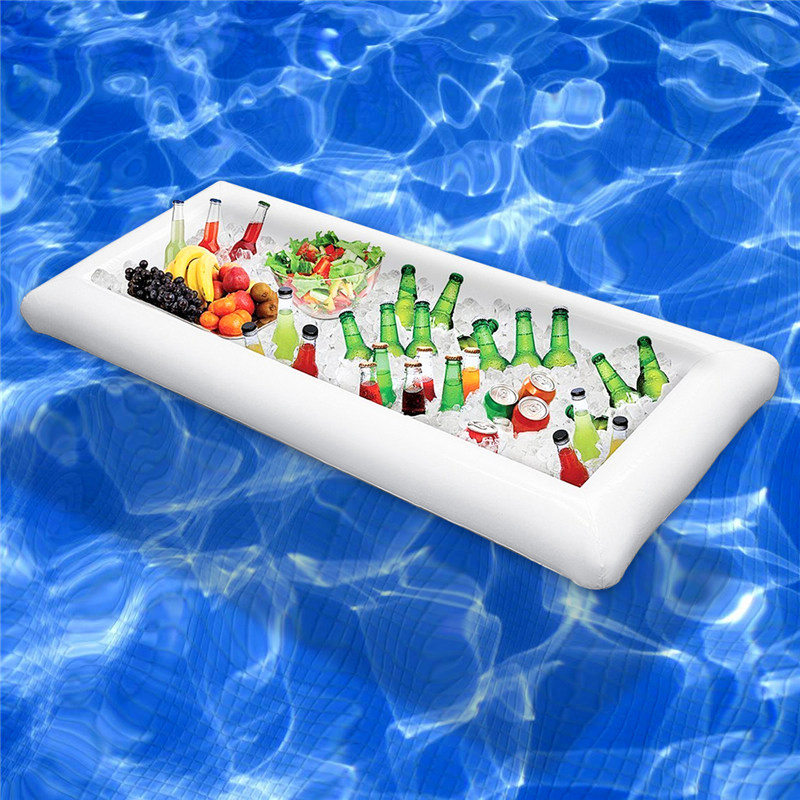 Inflatable Beer Table Pool Float Summer Water Party Air Mattress Ice Bucket Serving/Salad Bar Tray Food Drink Holder