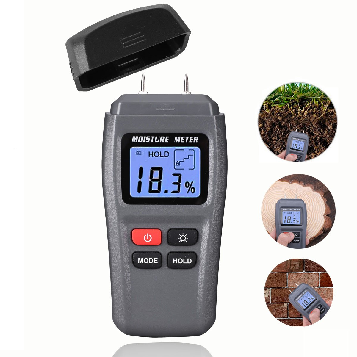 Wood Moisture Meter, DiKaou Wood Humidity Tester Detector with Digital LCD Display, Firewood Humidity Measuring Device, Timber Hygrometer of High Measuring Accuracy