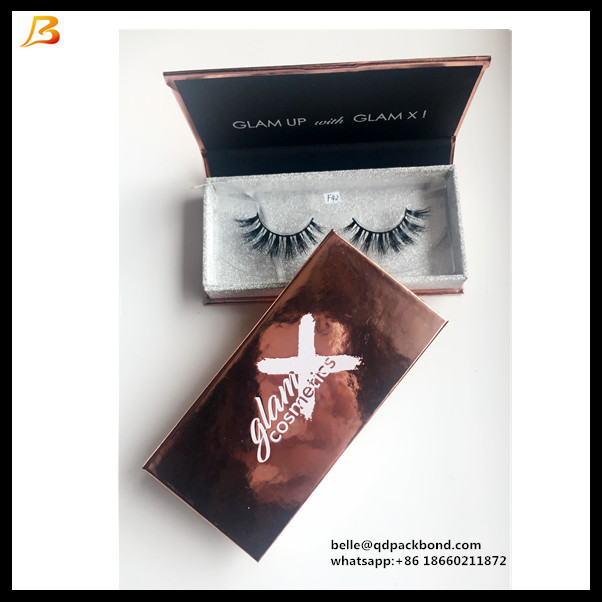 Custom Cardboard Gift Packaging Magnetic Closure Rose Golden Eyelash Box Packaging