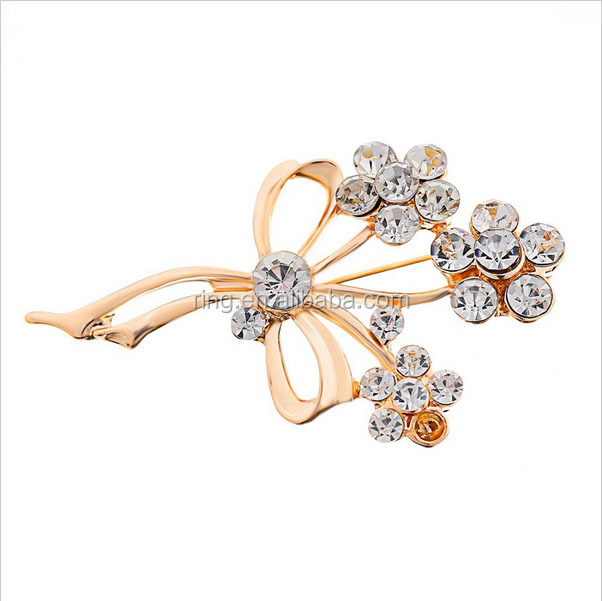 Women's Wedding Jewelry High Quality 18K rose glod Flower Rhinestone Brooch