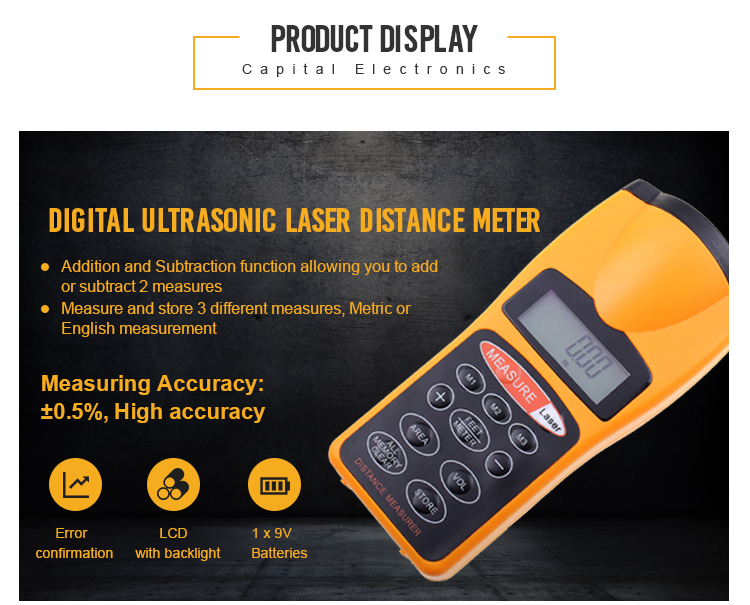 Wholesale CP-3007 high quality ultrasonic distance estimator 18 meters ultrasonic range finder