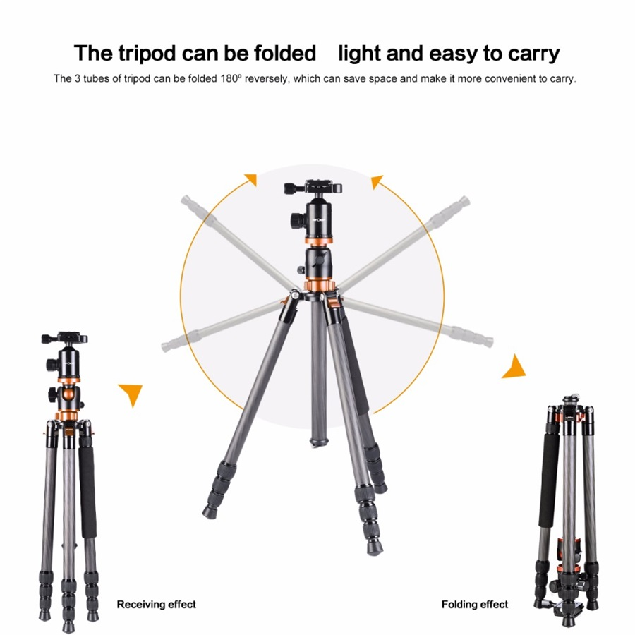 K&F Concept Camera Tripod 72 Inch Portable Magnesium Aluminium Monopod Professional Tripods 360 Degree Ball Head for DSLR Camera