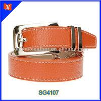 Fashion orange color topstitched casual belt leather belt women