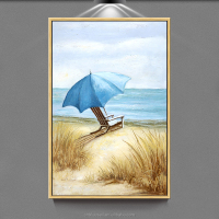 Popular modern Seascape handmade oil painting umbrella oil painting on canvas wall art for home decoration from China Supplier