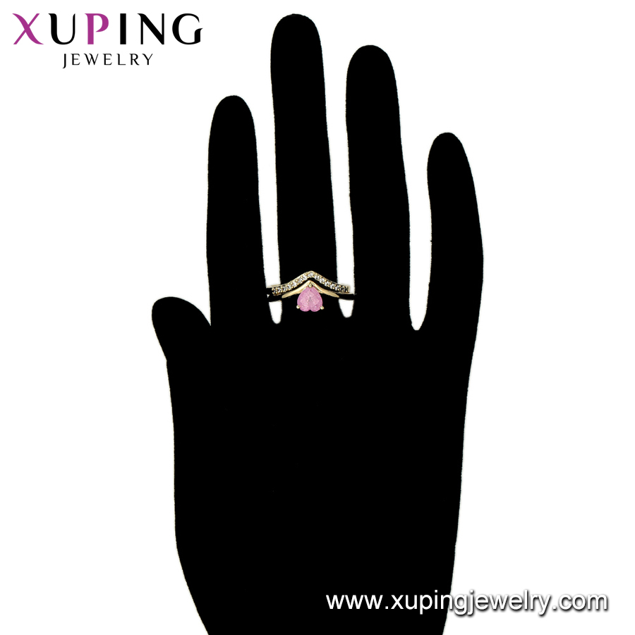 25 Years Supplier 15555 xuping heart fashion gold plated jewelry 14k stone luxury set ring