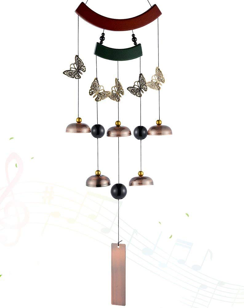 Wind Chime Outdoor -Metal Butterfly Wind Chime with 5 Unique Bells and Beads Chimes,Retro Butterflies Decorations and Wood Design for Garden Outdoor Patio Backyard Home Decor