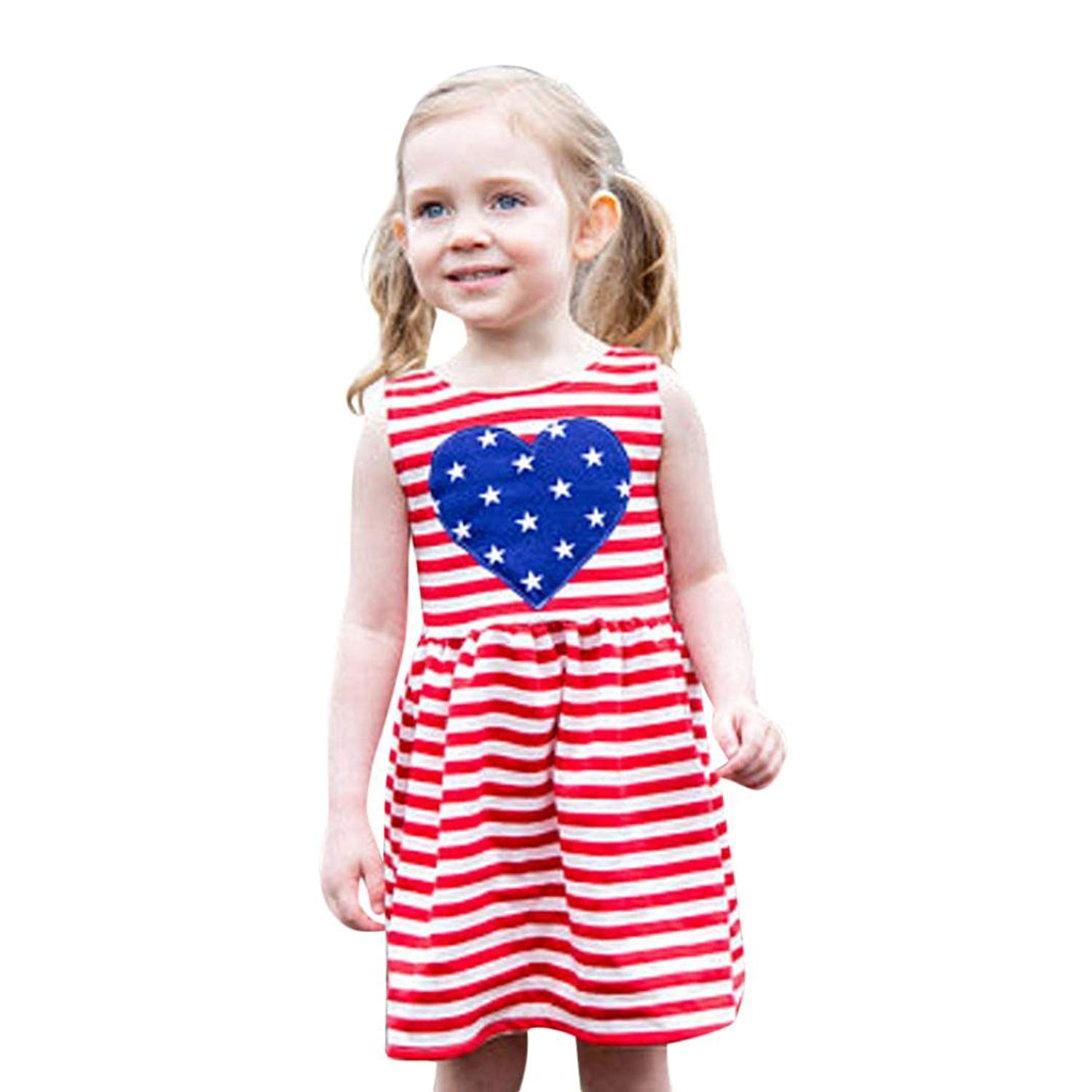 b036f780fad84 Get Quotations · Ourhomer Baby Girls Dresses Toddler Summer Infant Kids 4th  of July Star Dress Clothes Sundress Casual