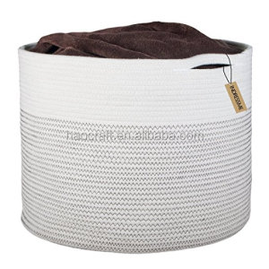 Foldable Cotton Rope Woven Basket Bin For Organizing Toys